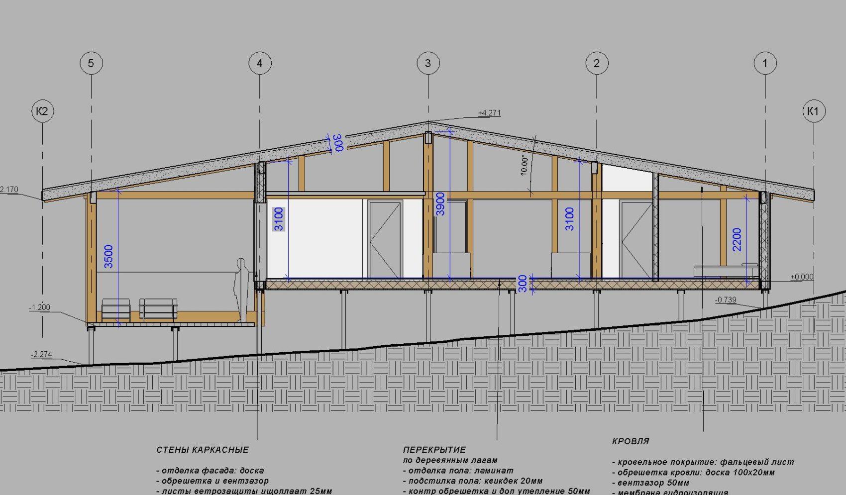 эскизный проект одноэтажного фахверкового дома
