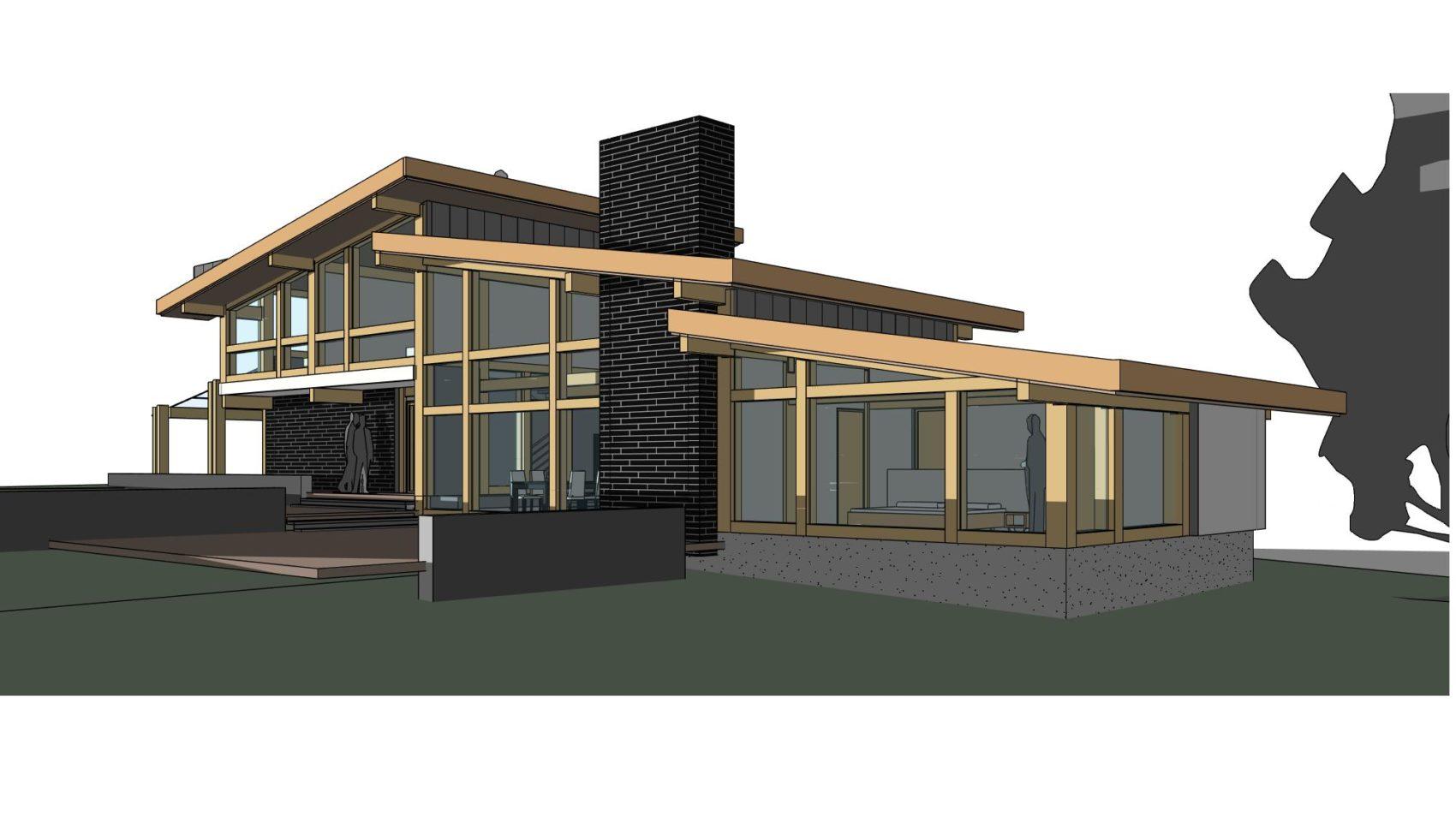 комбинированный фахверковый дом