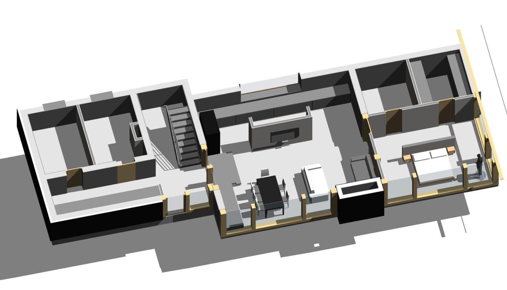 эскиз проекта 1 этажа фахверкового дома