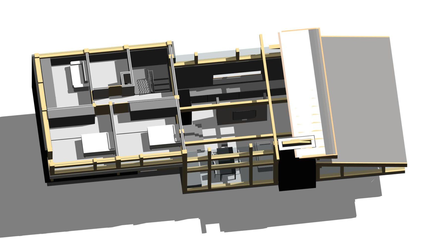 проект комбинированного фахверкового дома_План 2го этажа