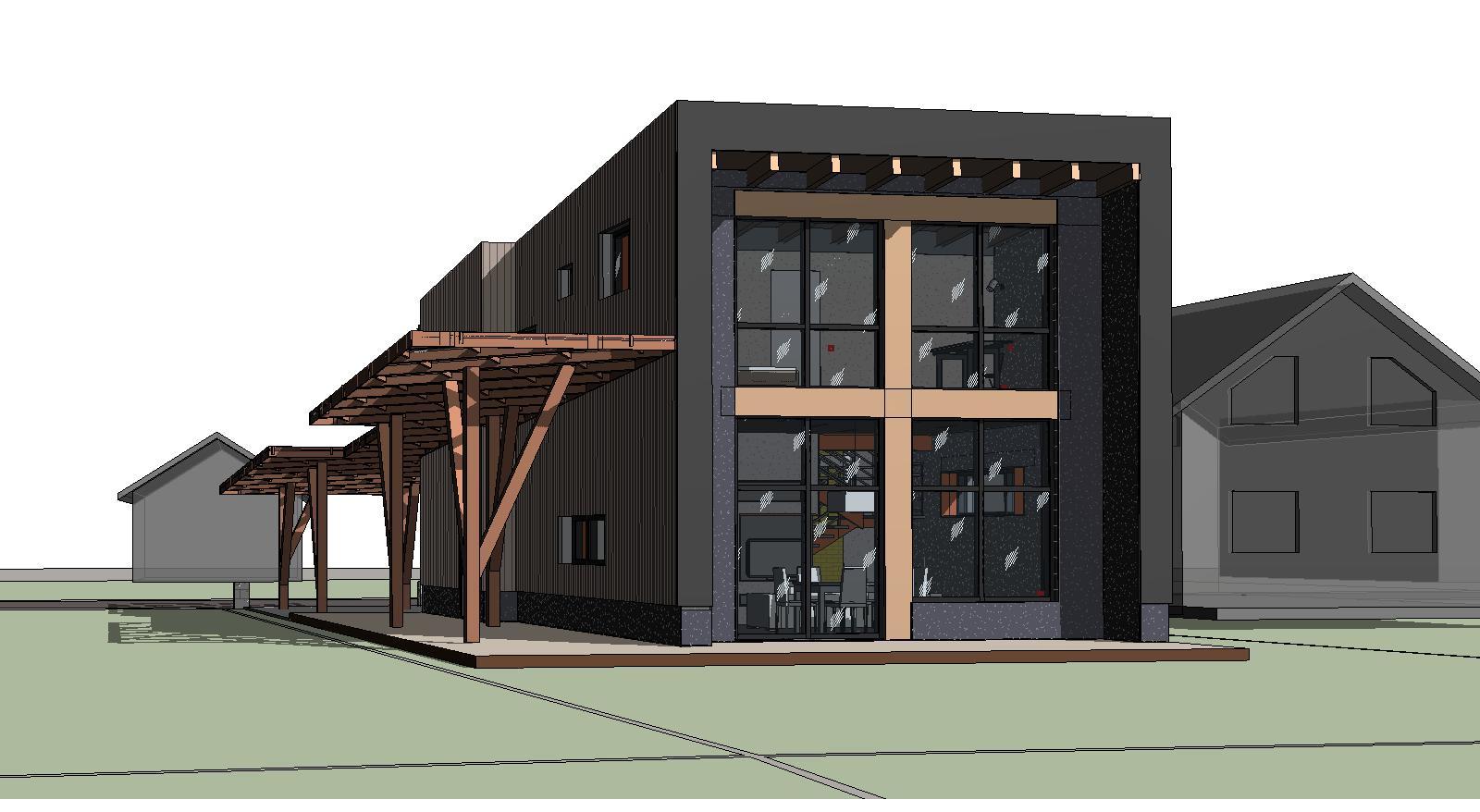 Проект дома с навесом