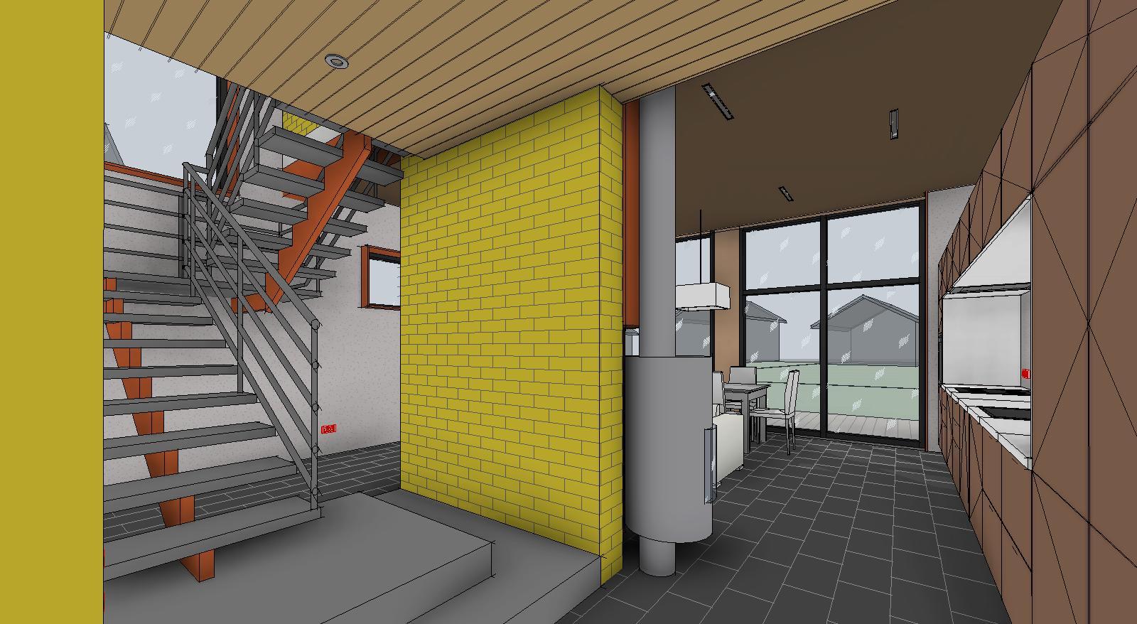 Лестница и кирпичная стена внутри